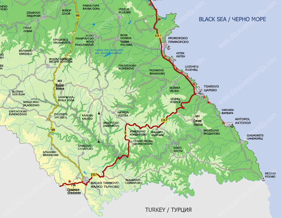 Карта на Странджа